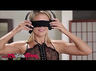 Lesbian girlfriends blindfolded strap