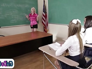 Lesbian teacher seduced by and gets her pussy licked by her students