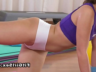 Beautiful lesbians in fitness gym