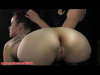 Lezdom hooded sub pierced clit rubbed