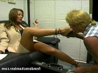 Femdom foot worship and strapon