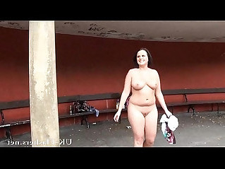 Chubby milf Sarah Janes outdoor masturbation and exhibitionist flashing