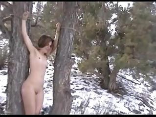 Brandi bondage and foot worship in the snow