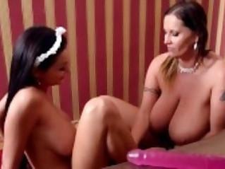 Busty Milf lesbian fucks a Crazy Hot Big Titty Maid!