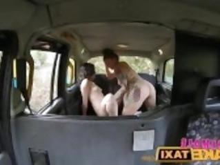 FemaleFakeTaxi British Lesbian Pussy Licking Taxi Fun