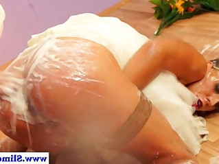 Hot bukkake lesbians at gloryhole getting facial
