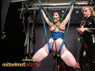 Delicious brunette bombshell simply loves being tied up and spanked hard