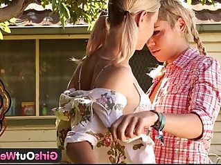 Girls out west skinny blonde lesbians in the backyard